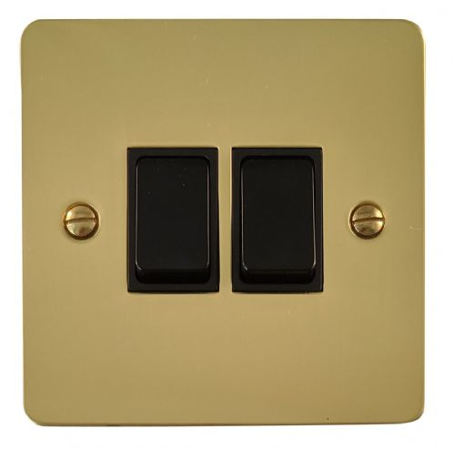 G&H FB2B Flat Plate Polished Brass 2 Gang 1 or 2 Way Rocker Light Switch